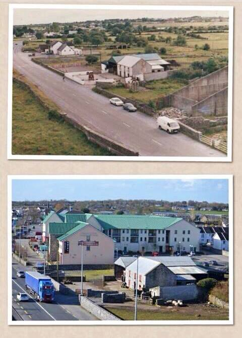 View from atop Claregalway Castle 20 years ago and today—shared by Patrick Lyons.