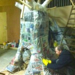 Community Volunteers build Patrick's Day Float for Nature Inspiring Greenie Character