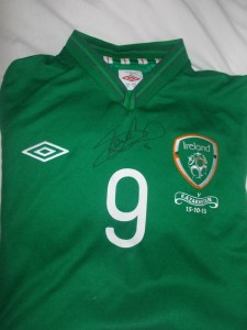 Shane Long signature on player issue jersey