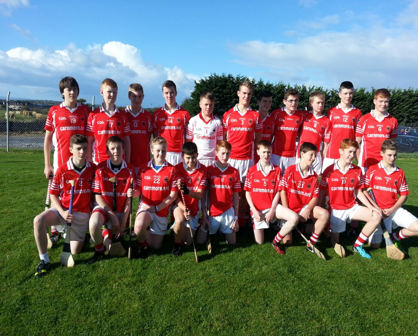 Carnmore Under 15 B1 Championship Panel 2014—Back Row: Darren Grealish, Colm Healy, Keith Field, Tomas Cogley, Conor Flaherty, Brian Fox, Daniel Prior, Conor Harte, Mikie Cullina, Robert Healy. Front Row: Tom Hopwood, Shane Lawless, Harry Bradshaw, Eoin Clarke, Shane O'Gorman, Aodhan Fox, Conor Finnerty, Harry O'Gorman, Cian Heery
