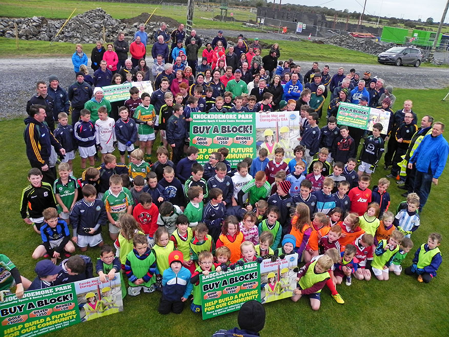 """""""Bring on the Future""""—Dozens of young players, local residents and Claregalway GAA members launching the Buy a Block campaign in Knockdoe on Sunday."""