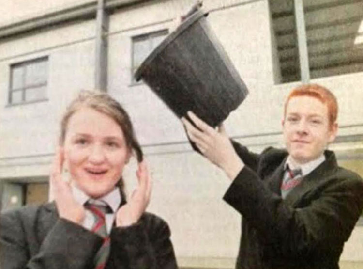 Students from Coláiste Bhaile Chláir Meg Ryan, Corrandulla and Etahn Coogan, Ballyglunin, will bring their project on the ice bucket challenge to this year's BT Young Scientist exhibition. Missing from photo is Emily Sheeran. Photo by Ray Ryan