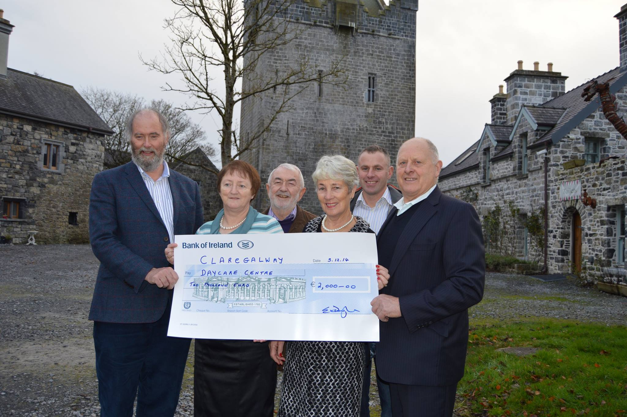 Pictured on 5th of December is Eamonn O'Donoghue of Claregalway Castle presenting a cheque to the Claregalway & District Day Care Centre. Left to right: Dr O'Donoghue, Kathleen Caulfield, Pat Griffith, Julie McKenna, Mike Herewood and Seamus O'Connell. Photo by Josette Farrell.