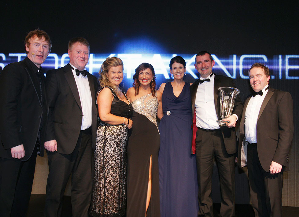 At the presentation of the Supplier of the Year Award were (L–R) MC Hector Ó hEochagáin, Stephen Kelly and Sharon Kelly Stocktaking.ie, Oonagh O'Hagan chairperson of Retail Excellence Ireland, Joan and Patrick McDermott Stocktaking.ie and Peter Sweeney of Barclaycard (event Sponsors) at the Retail Excellence Ireland Awards 2014 recently. Photo: Andrew Downes Photography.