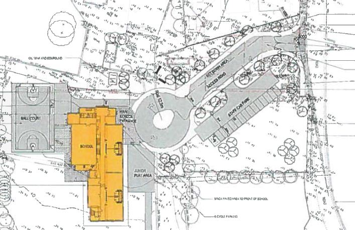The plans for the new school, with Lackagh church north/above the school and the public road west/right of the school.