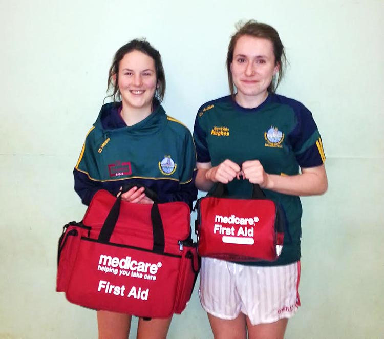 Aiofa Gavin and Rebecca Downs were presented with a set of First-AID Kits by John Duffy of Claregalway Pharmacy for their coming Year.