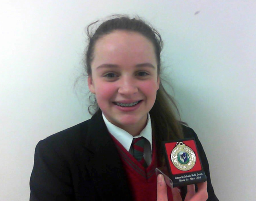 Congratulations to Andrea Trill who came first in the Minor Connacht Schools Combined Events—Long Jump, Hurdles, 800m and Shot Putt.