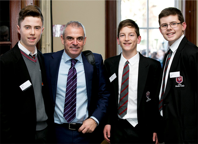 Sean Mitchell, Paul McGinley, Conor Finnerty and Daragh Jordan at The Business of Sports Science, RDS at the BT Young Scientist exhibition.