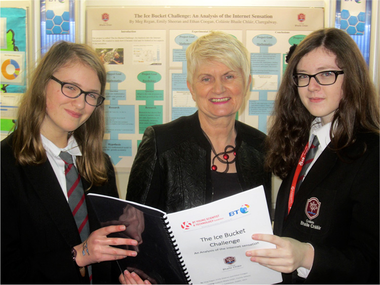 Pictured areMeg Regan, Marian Harkin MEP and Emily Sheeran at the BT Young Scientist last month.