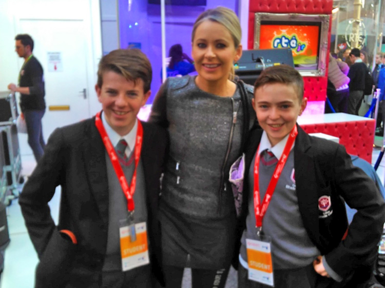 Pictured are Eoghan Furey, Sharon Ní Bheoláin and Ruairí Gallagher at the BT Young Scientist last month.