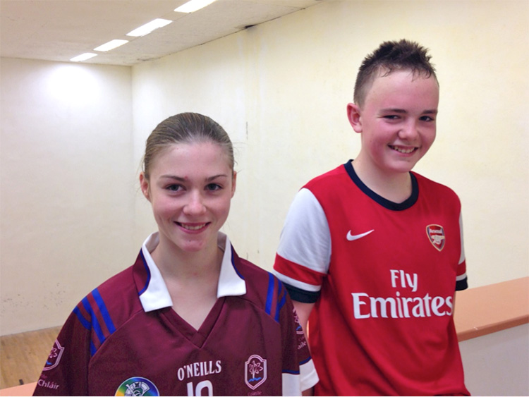 First year students Niamh Heffernan and Enda Collins who competed in the A competition.