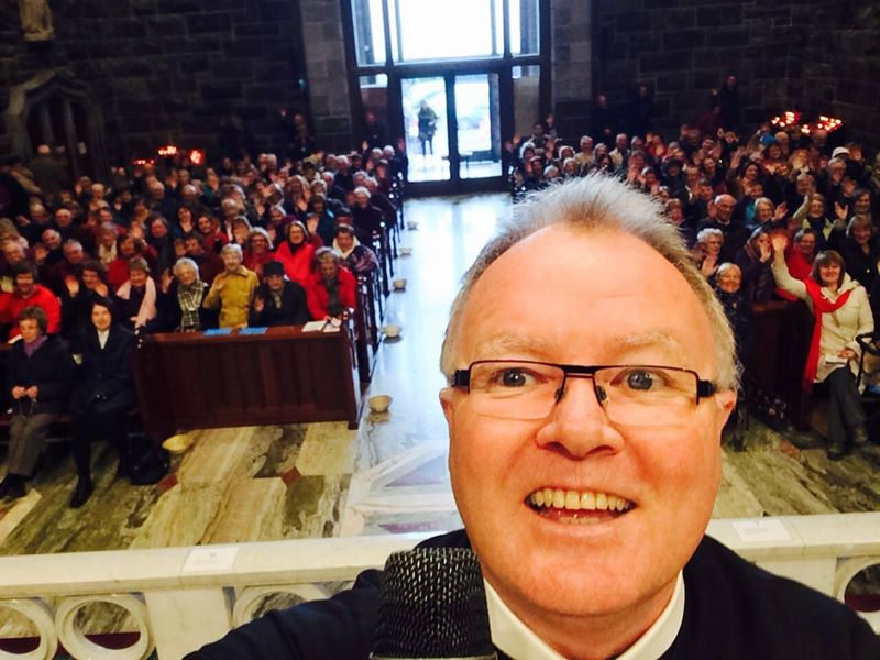 Fr Adrian snaps a selfie from the altar at Galway Cathedral during the Solemn Novena.
