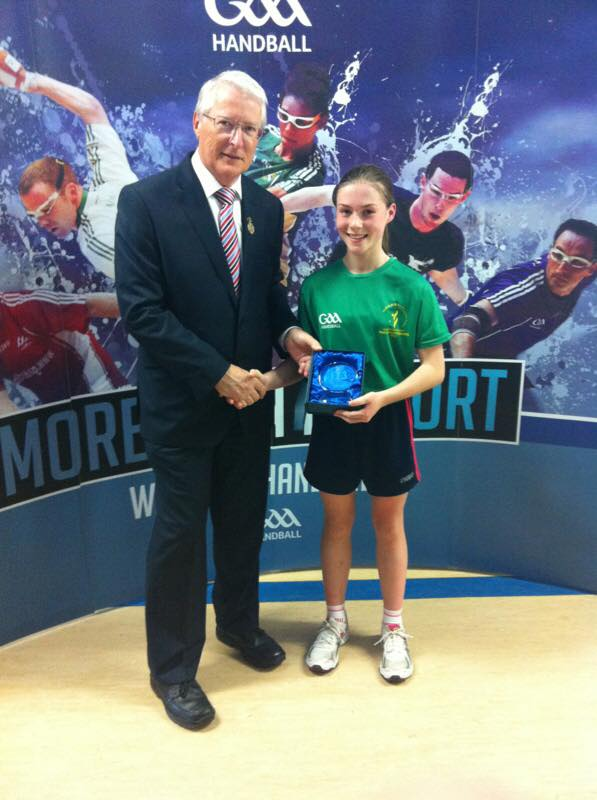 Niamh Heffernan pictured after winning her first National title in the 13&U. Photo via Claregalway Handball Club on Facebook.