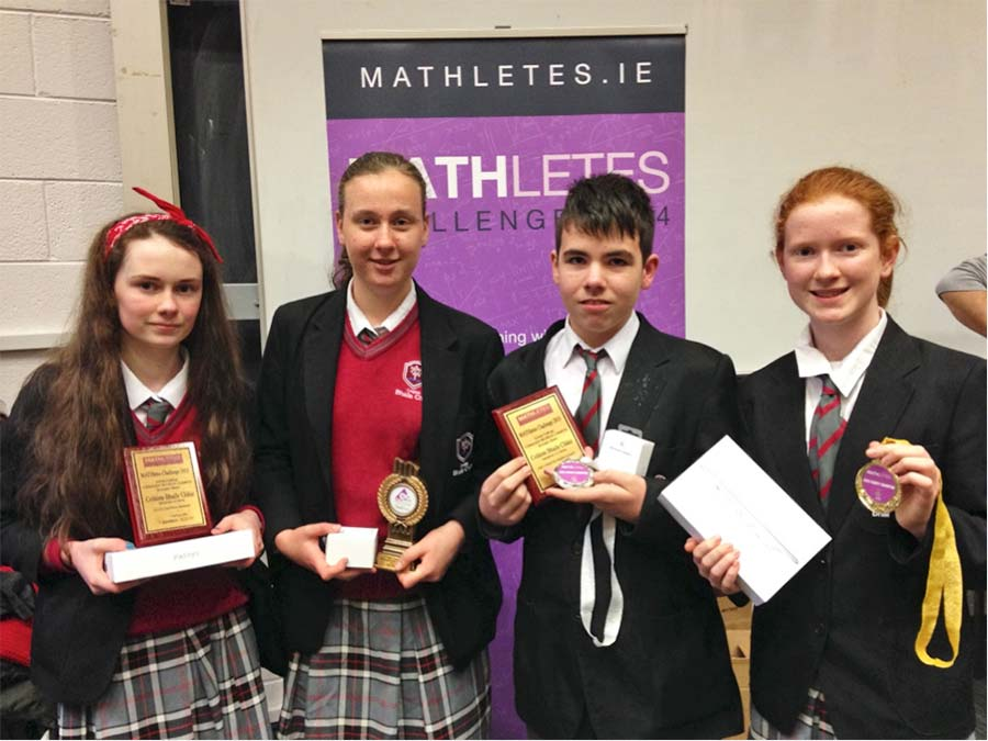 Mathletes Finalists (L–R): Katie McCallig 2nd year, Avril King 2nd year, Dáire Leonard 1st year, Sinéad King 1st year.