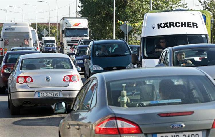 Traffic at a standstill in the village. Photo via Connacht Tribune.