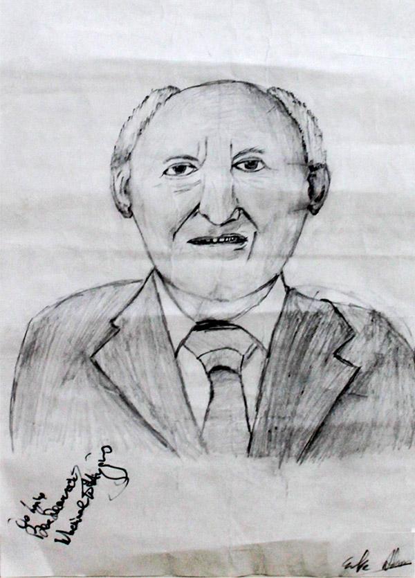Sketch—signed by An tUachtarán M D Higgins—by Luke Adams (2nd year)