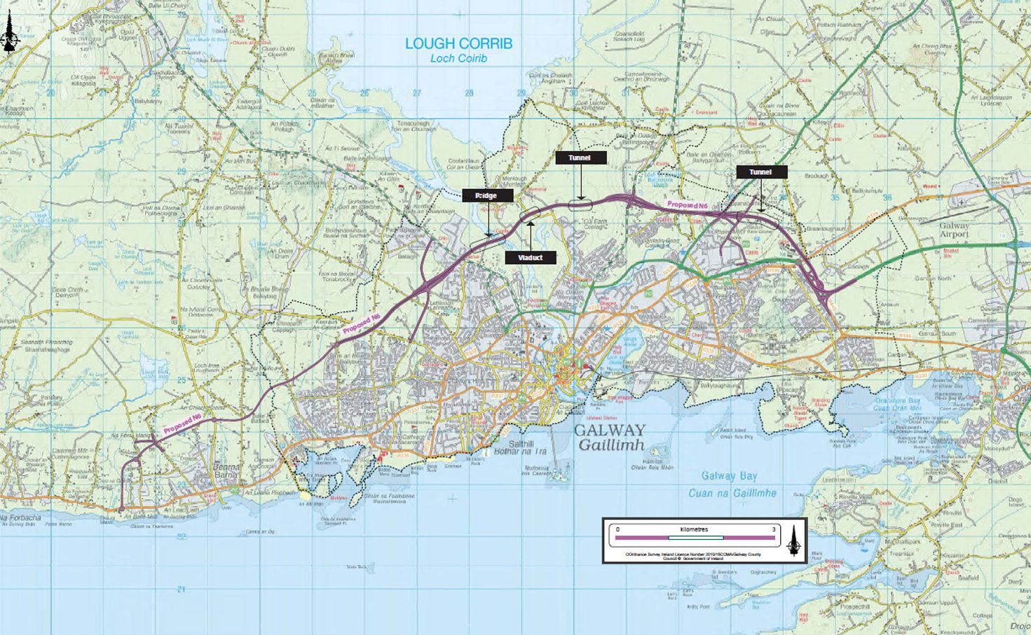 The 'emerging preferred corridor' for the scheme—which has been touted as the solution to Galway's traffic woes. Photo via Connacht Tribune.