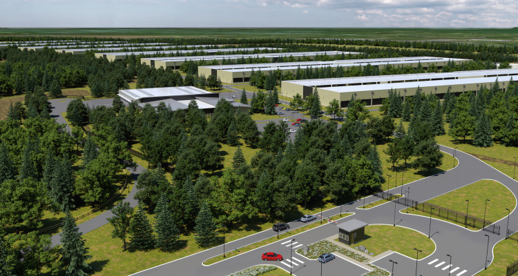 An architect's rendering of Apple's proposed data centre in Athenry.