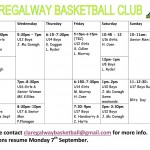 Claregalway Basketball Club September Timetable