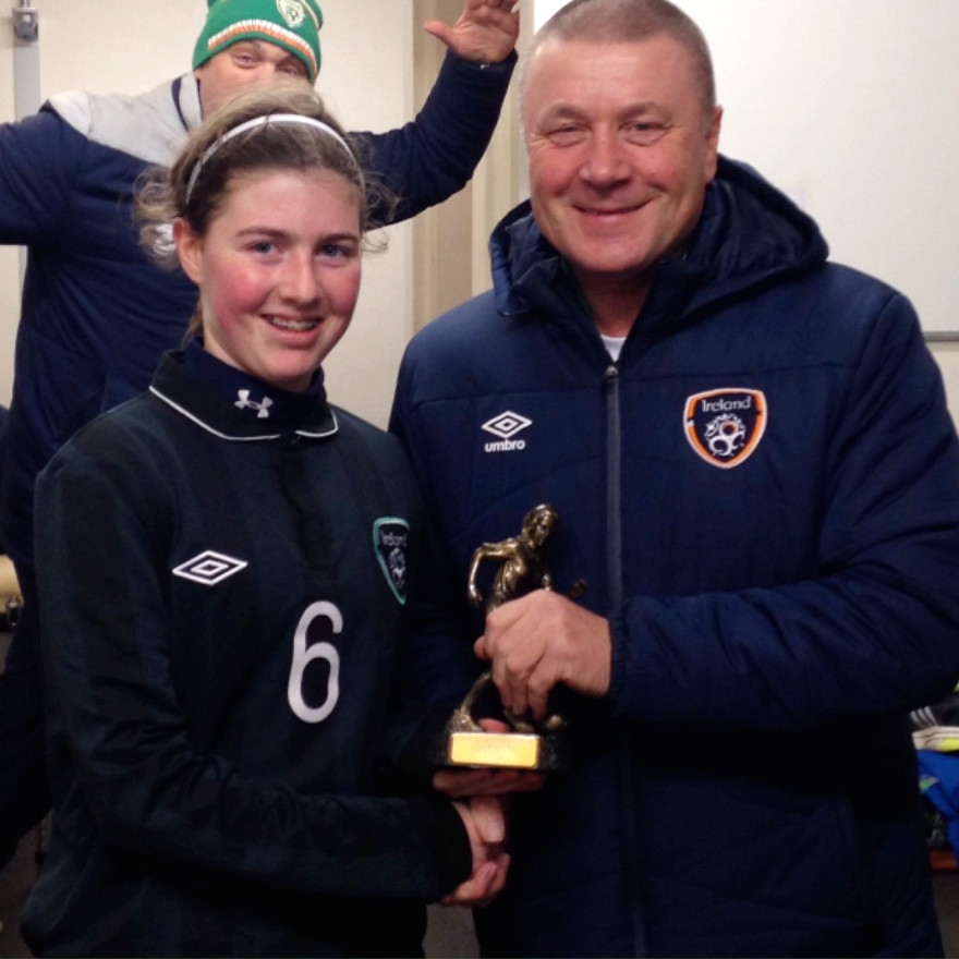 Sinead Donovan receives Player of the Match award from Dave Bell Republic of Ireland U17 Girls Manager. 20/2/16 Oriel Park, Dundalk.