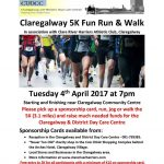 Claregalway 5k fun run/walk on Tuesday April 4th