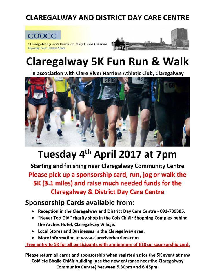 Claregalway 5k fun runwalk on Tuesday April 4th Claregalwayinfo – Sponsorship Cards
