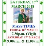 St. Patrick's Day Mass, Saturday 17th March 2018