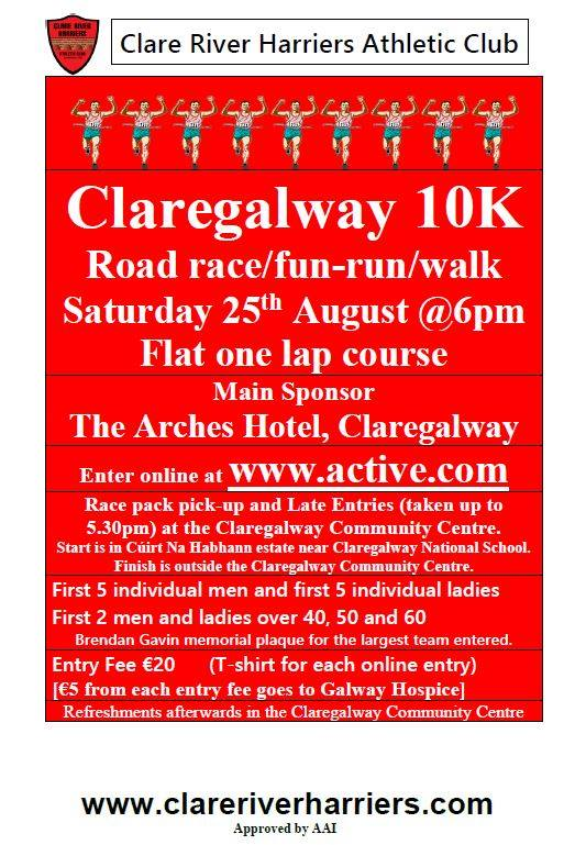 Claregalway 10K Road race/run/walk